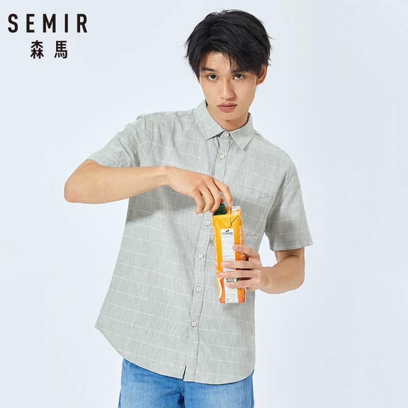 セミール半袖シャツメンズティーン夏新固体色のシャツの韓国男性の綿シャツ半袖カジュアル