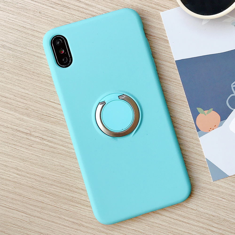 KIPX1110SB_1_JONSNOW Pure Color Phone Case for iPhone XS XR XS Max 6 6S 7 8 Plus Matte Soft TPU Solid Cover with Ring Holder Capa Fundas