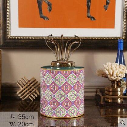 Pot à bonbons en céramique bocal de stockage ornements porche créatif pot en céramique avec LidCreative salon Hom