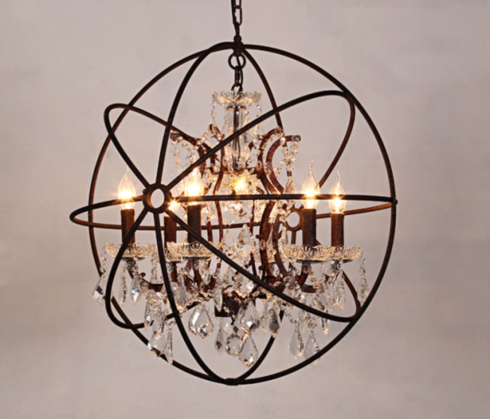 Rustic Chandeliers: Vintage Crystal Chandelier Hanging Lighting Orb Globe Rustic Chandeliers  Light Living Dining Room Bedroom Restaurant Decor,Lighting