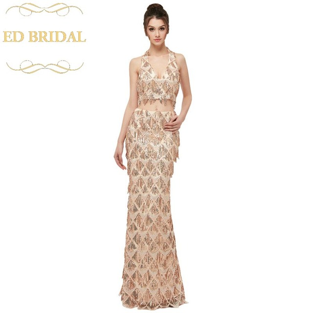 e4ef0cec880d8 Sequined Tassel Backless Evening Dress Mermaid Crop Top Two Piece Prom  Party Dresses Sexy Plus Size abendkleider