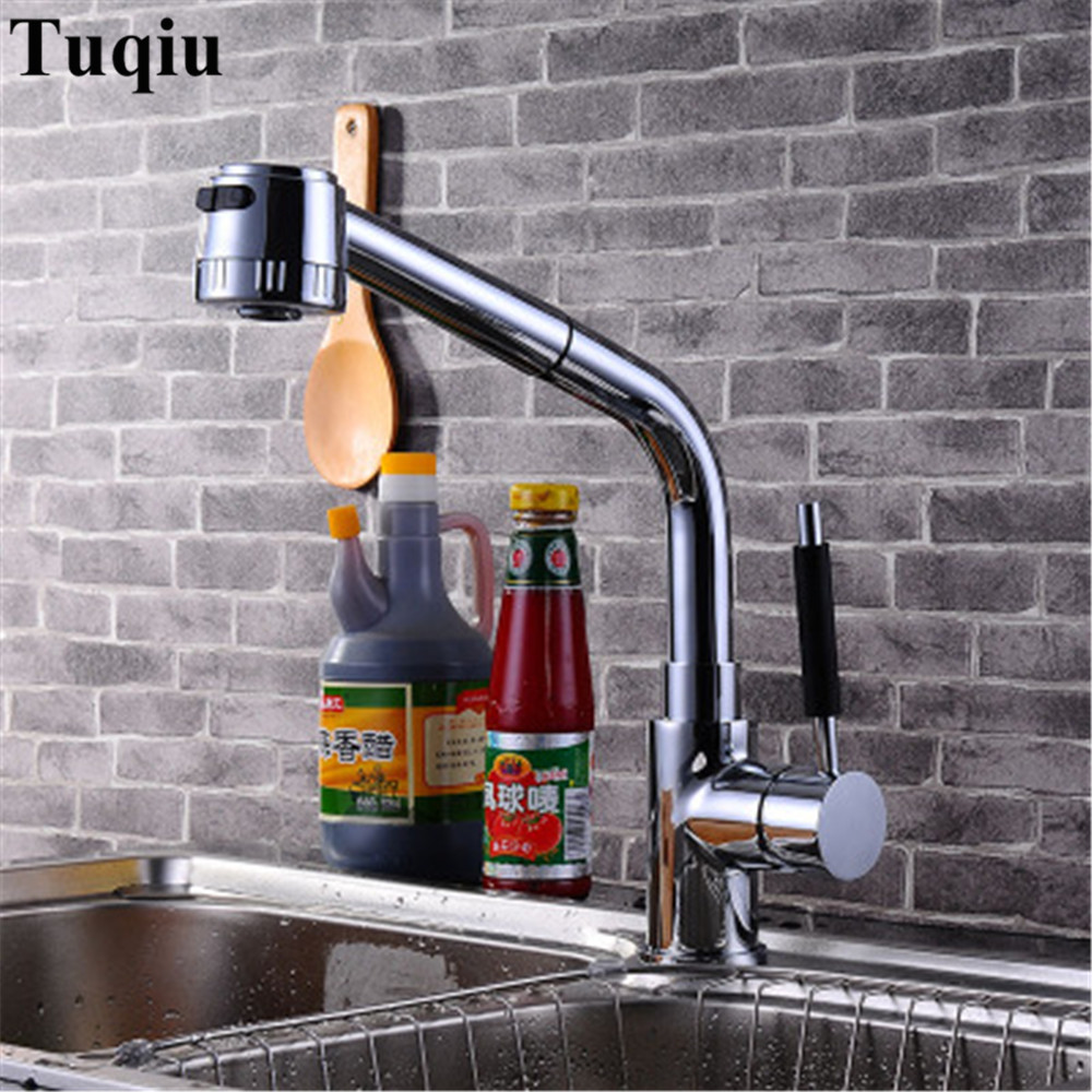 Kitchen Faucet Chrome Brass Faucets for Kitchen Sink Pull Out Spring Spout Mixers Tap Hot Cold Mixer faucet Griferia De Cocina jooe modern solid brass with chrome kitchen faucet mixer cold and hot water tap for sink torneira cozinha griferia cocina je029