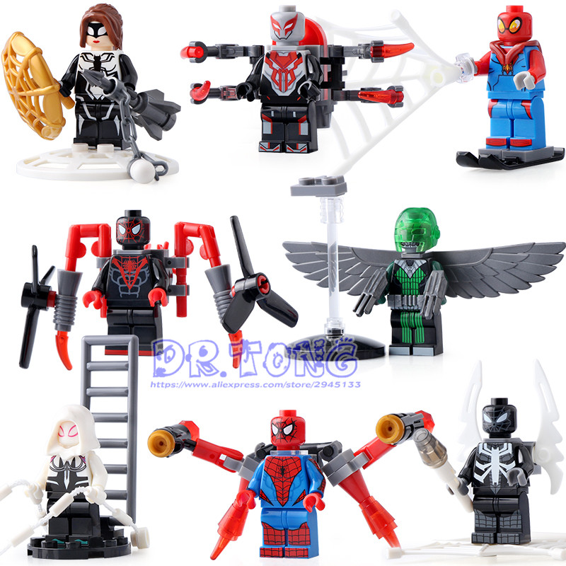 DR.TONG 8PCS/LOT SY688 Super Heroes Spiderman Superman Captain America Thor Bricks SET Model Building Blocks Children Gift Toys