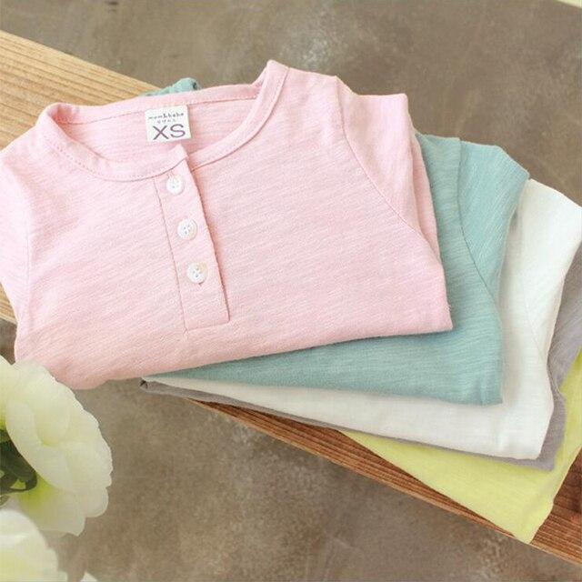 5 цветов 1-5Y детская одежда новая мода с длинным рукавом хлопок детские майка шею малыша мальчики девочки Футболка тройники