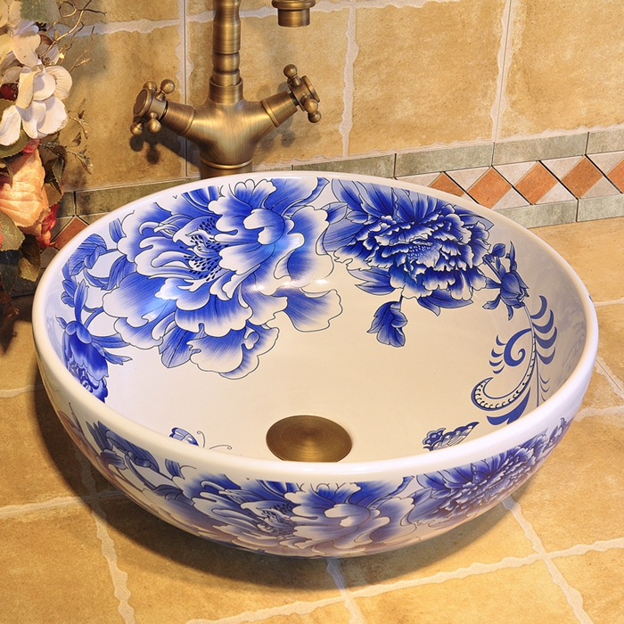 Chinese hand painted art porcelain blue basins sinks with butterfly love flower designChinese hand painted art porcelain blue basins sinks with butterfly love flower design