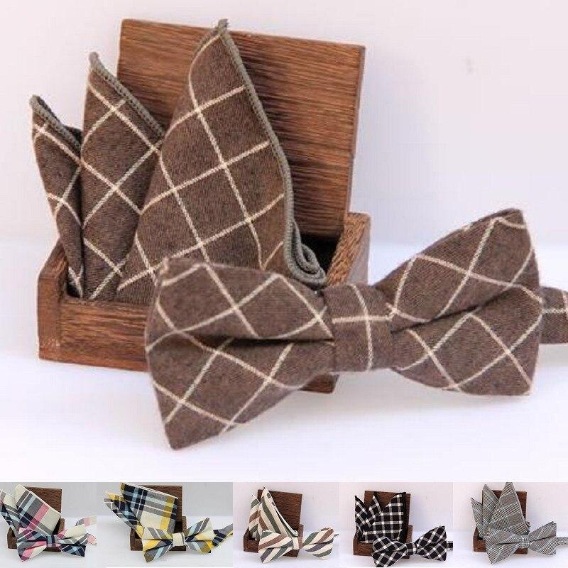 50 sets por atacado gravata borboleta conjunto xadrez bowknot algodão Tecido Jacquard Men Borboleta BowTies lenço de Bolso Praça de lenço Terno