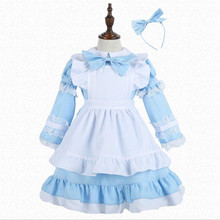 Deluxe Girls Alice In Wonderland Maid Costume Halloween Kids Performance Party Princess Cosplay Clothing