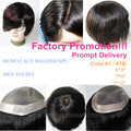 Promotion New Hair Replacement Systems Mono Lace and Npu Around Hair Toupee Men Hair Piece Stock 120% Density Two Black Color