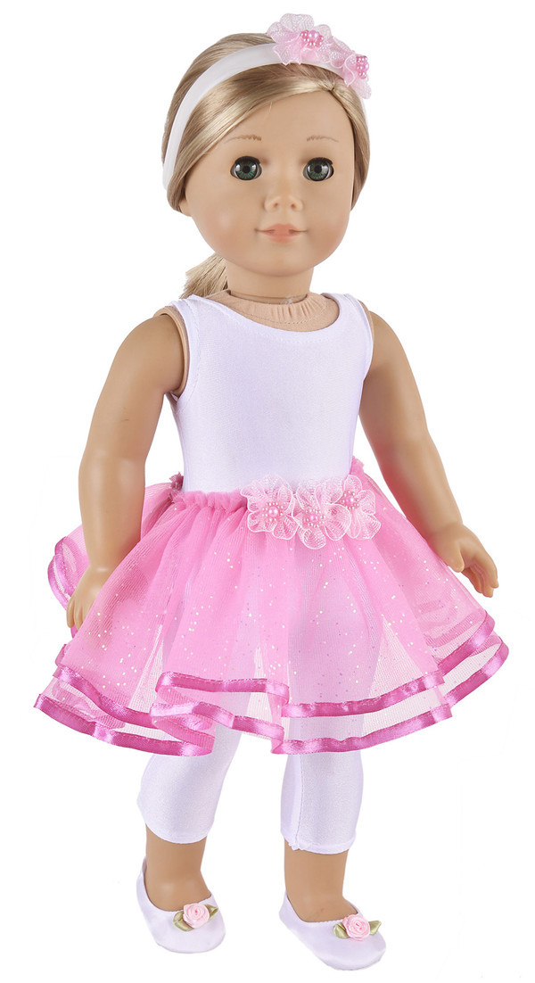 Elegant Ballet Dress Jumpsuit Shoes Hairband Doll Clothes For 18 American Girl
