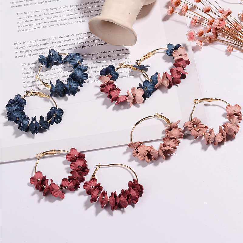 Cloth Art Flower Drill Korean Charming 4 Colors Ear Stud Unique Earrings Hot Sale Circle Ring Graceful Allergy Free Women