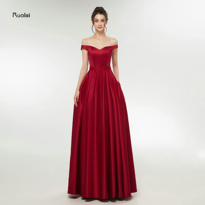 Burgundy Sexy Prom Dresses 2018 Long Girl Satin Off the Shoulder Party Dresses Long Evening Dresses Real Sample In Stock