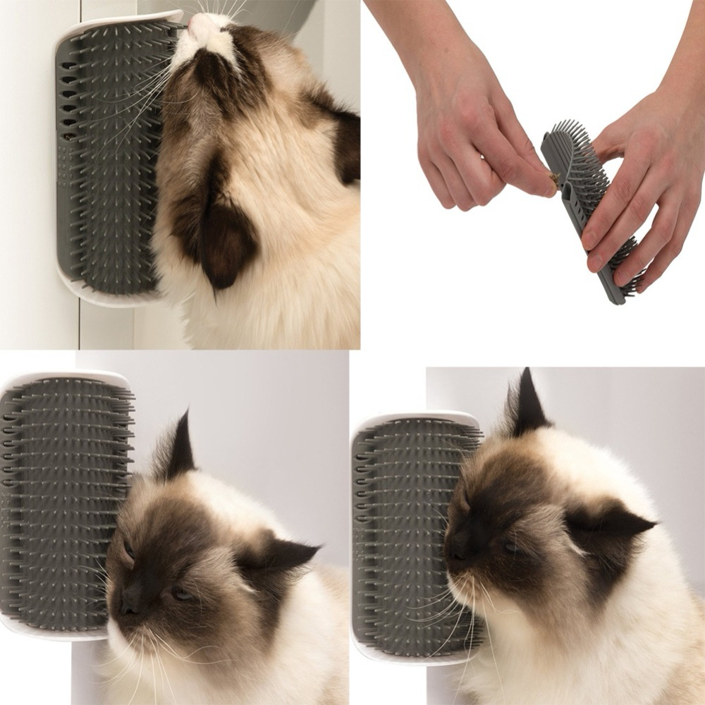 Lovely Pet Products Cats Supplies Cat Massage Device Self Groomer With Cat Nip Pet Toy For Cat Brush Comb