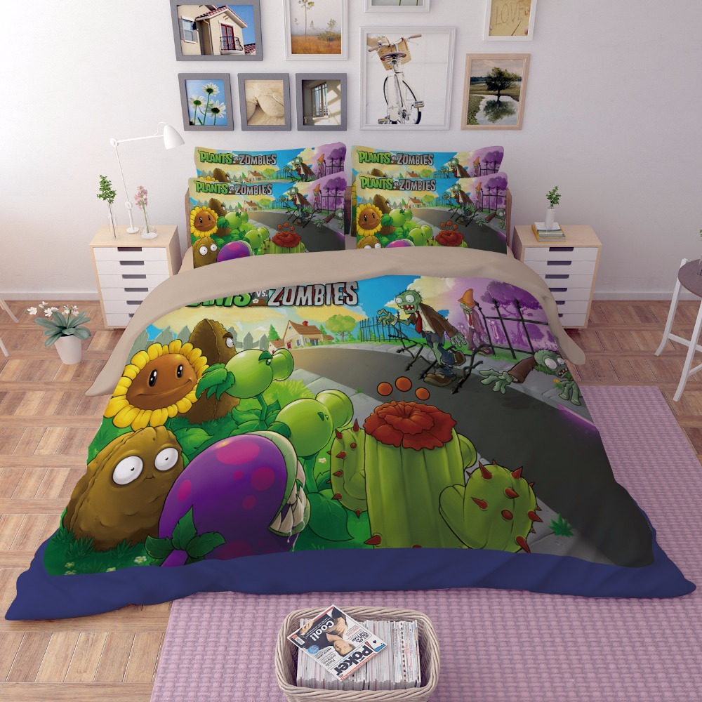 Kids Bedroom Furniture For Boys Anime Bedroom Decor Older Boys Bedroom Wallpaper Bedroom Design Ideas Red: 2017New 3D Anime Boys Bedding Sets Plants Vs Zombies