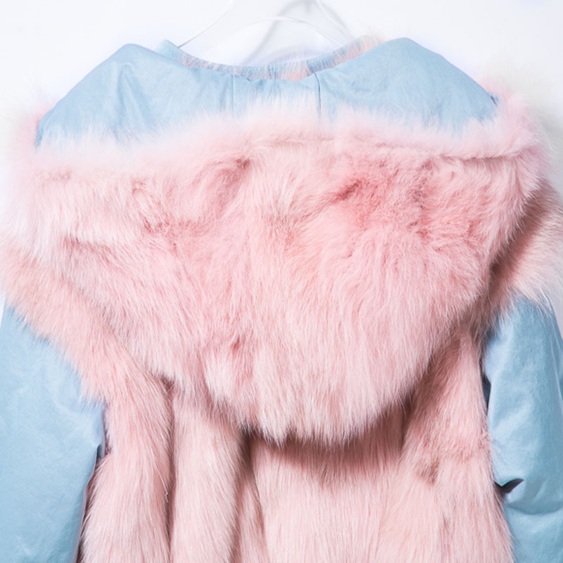 De À Mujer Fit Coréenne Hiver black Fourrure Manteau Face Renard pink pink Vêtements Slim Navy Veste Femmes Abrigo Tops Capuche light Blue Zt425 Blue Manteaux Court Double 2018 dwq00Hxn8