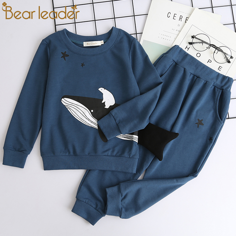 Bear Leader Boys Clothing Sets New Autumn Fashion Style Long Sleeve Boys Clothes Cartoon Fish Print for Children Clothing 3-7Y bear leader autumn children boys clothes sets long sleeve t shirt jeans 2pcs kids suits cartoon car pattern boys clothing sets