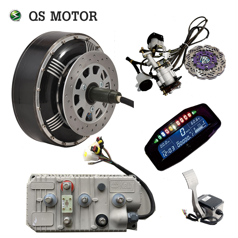 QSMOTOR 6000W 273 45H V3 BLDC Brushless Electric Car Hub Motor Conversion   Kits With Kelly 7250H