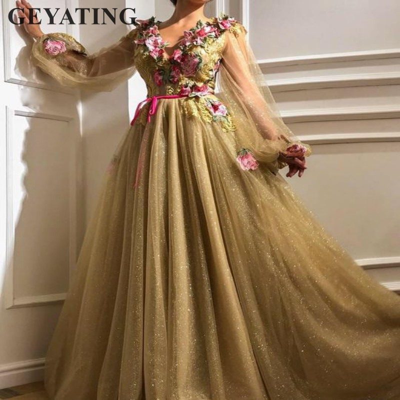 Glitter Tulle Sequin Gold Prom Dresses Long Sleeves V-neck Embroidery Arabic Evening Gowns Elegant Women Formal Party Dress 2019