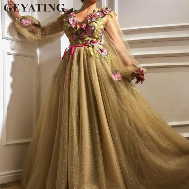 f456c3aeded Glitter Tulle Sequin Gold Prom Dresses Long Sleeves V-neck Embroidery  Arabic Evening Gowns Elegant Women Formal Party Dress 2019