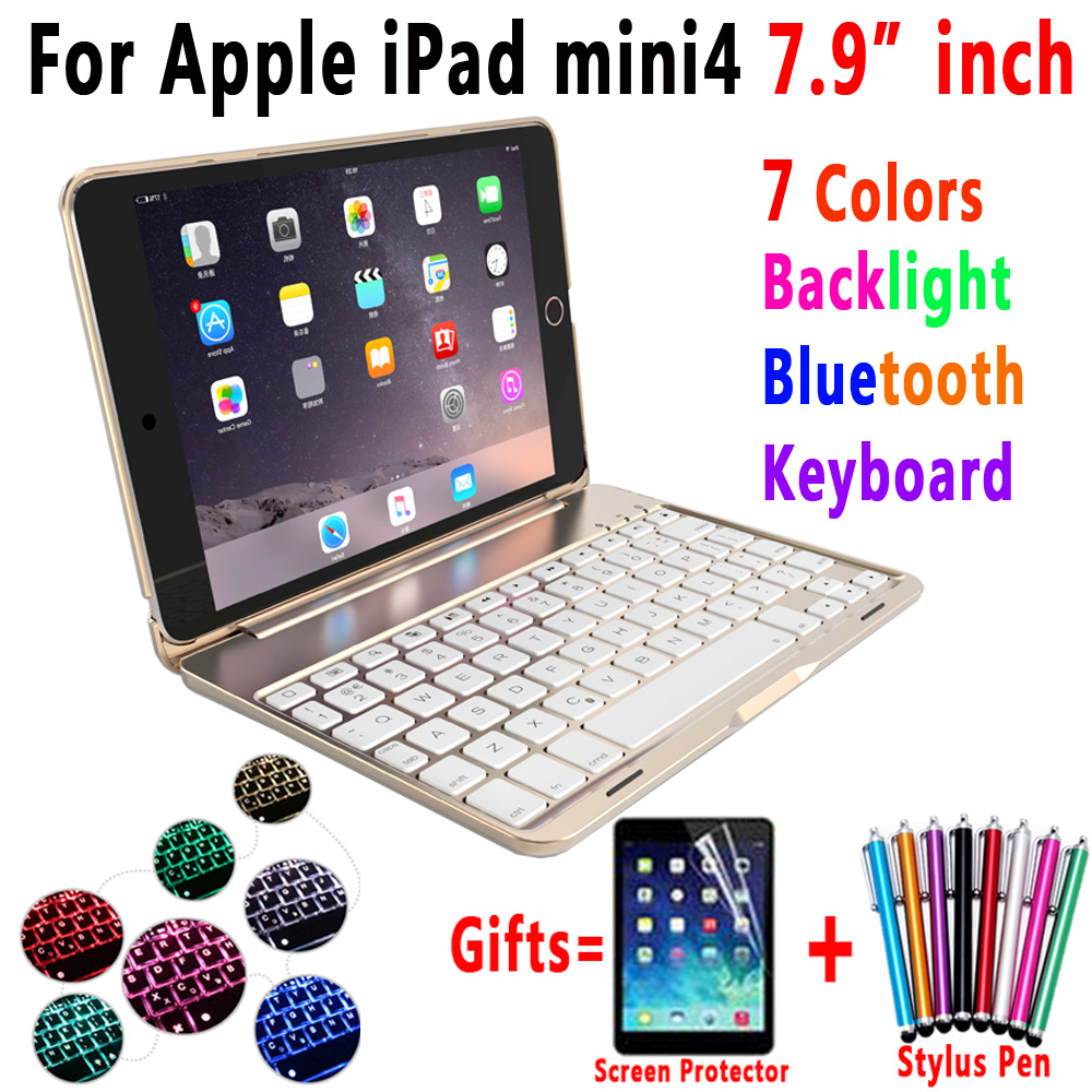7 Color Backlit Aluminum Alloy Wireless Bluetooth Keyboard Smart Case Cover for Apple iPad mini 4 7.9inch A1538 A1550 Coque Capa 7 color backlit aluminum alloy wireless bluetooth keyboard smart case cover for apple ipad mini 4 7 9inch a1538 a1550 coque capa