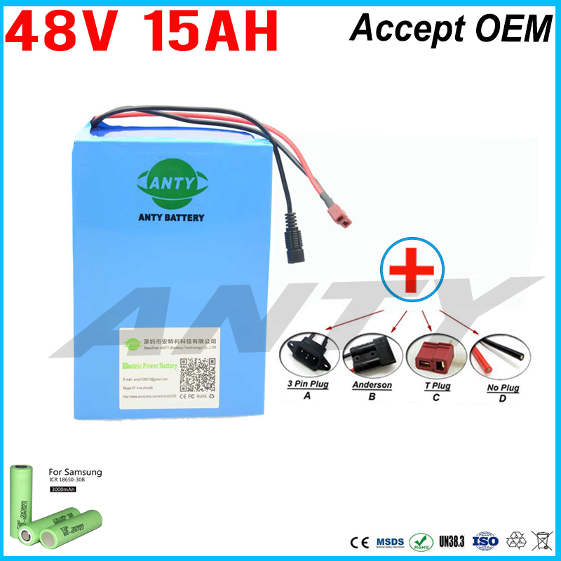 eBike Battery 48v 15ah Lithium ion Battery Pack 48v For Samsung 30B Cells Built in 15A BMS with 2A Charger Free Shipping Duty free customs taxes high quality diy 48 volt li ion battery pack with charger and bms for 48v 15ah lithium battery pack