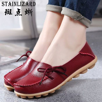 Real Leather Women Ballet Flats Moccasins Fashion Classic Loafers Ladies Shoes Plus Size Spring Summer Casual