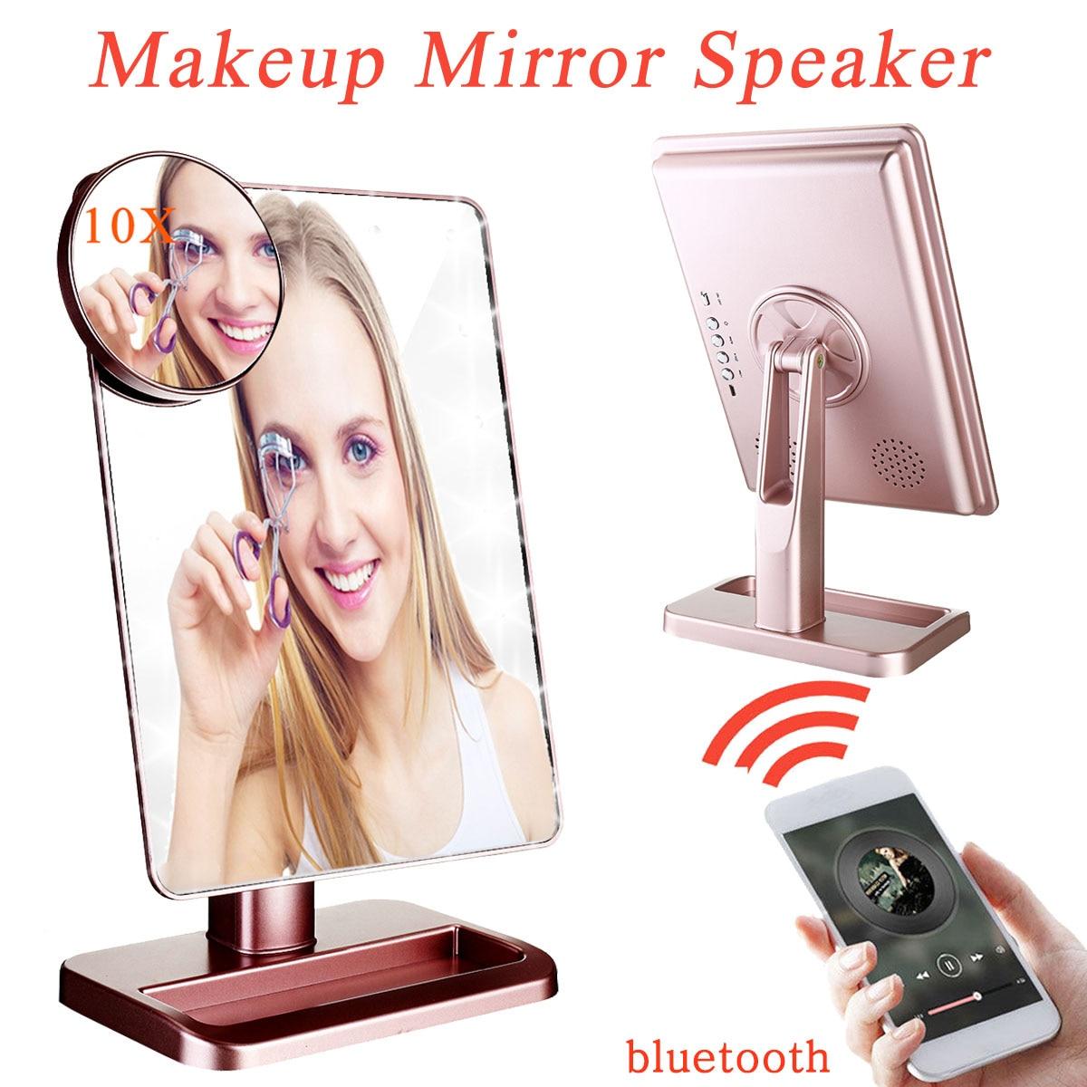 Haut-parleur bluetooth miroir de maquillage à LED intelligent Musical 20 lumières écran tactile miroir de maquillage de vanité réglable avec loupe 10x