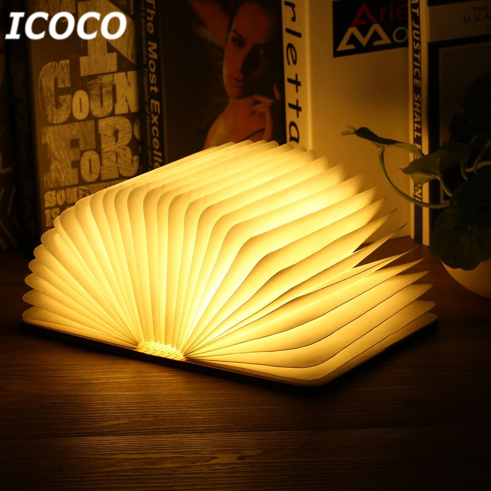 ICOCO Portable USB Rechargeable LED Magnetic Foldable Wooden Book Lamp Night Light Desk Lamp Hot Sale For Home Decor Drop Ship