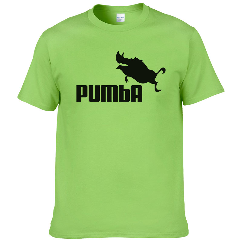 2016 Funny Tee Cute T Shirts Homme Pumba Men Short Sleeves Cotton Tops Cool Sport Tshirt