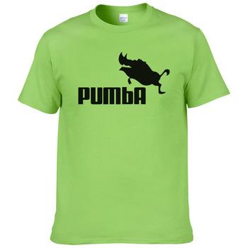 Zabawny T-shirt dla mężczyzn podkoszulek koszulka śliczna Pumba do codziennego użytku krótka rękawy bawełniany topy odjazdowe letnie kostium #062 2016 tanie i dobre opinie SHORT Z KRÓTKIM RĘKAWEM Na co dzień Print COTTON t shirt men Z okrągłym kołnierzykiem tops Sukno White gray yellow pink light blue light green