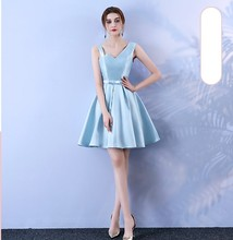 Blue Colour Bridesmaid Dresses  Sleeveless  Above Knee Mini Dress New Women's  Sisters  Wedding Party mini dress bridesmaid dress wedding guest sexy dress sleeveless above knee back of bandage blue colour