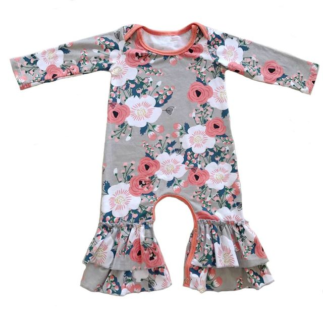 Newborn Baby Girl Romper grey Floral,Baby Girl Long Sleeve Cotton jumpsuit,Newborn Take Home,Infant Sleeper pajama gown