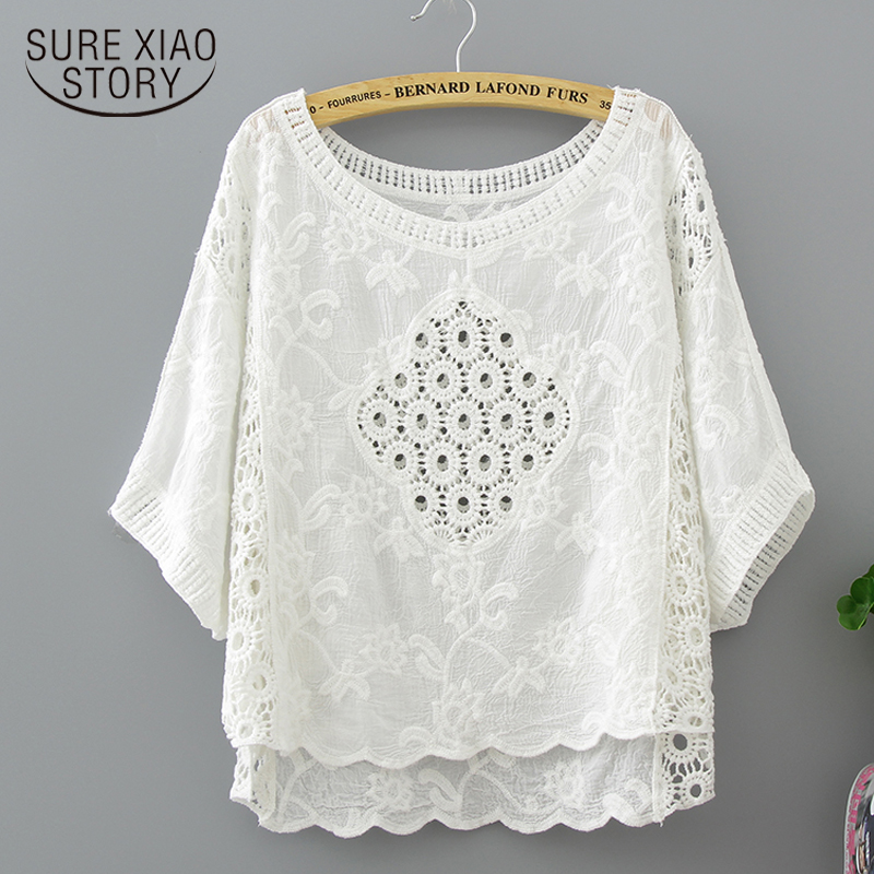 2018 fashion blouse shirt new summer lace o-neck female blouses batwing sleeve solid white color women clothing tops 0316 40