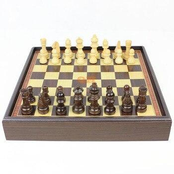 Wooden chess natural wood green paint refined workmanship boxed desktop grade wood gift portable chessboard child fun heat