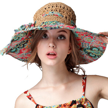Fashion Sun Hat Women Summer Straw Hats Printing Adjustable Ecology cap  Foldable Women Beach Headwear Top Quality-in Sun Hats from Apparel  Accessories on ... d898060ed24b