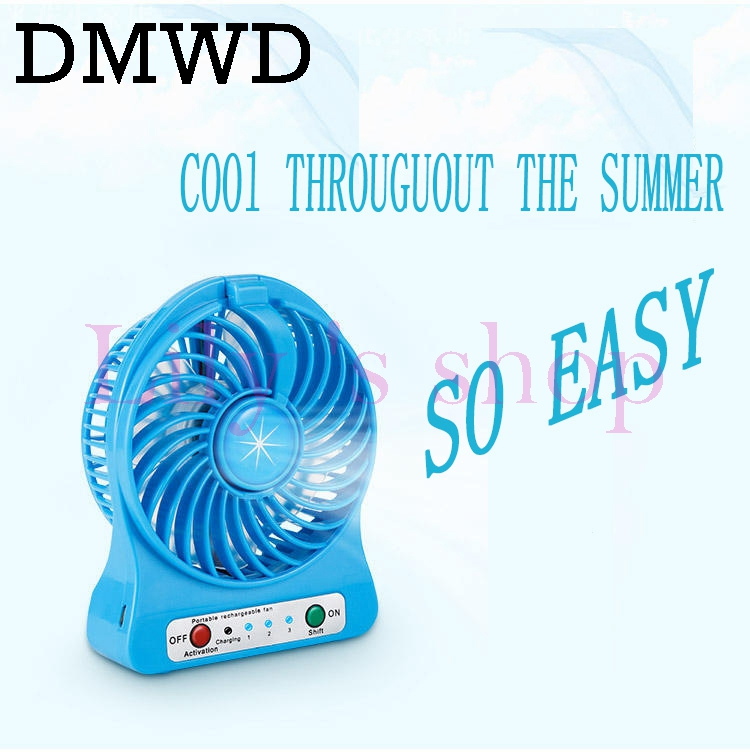 DMWD MINI portable handheld usb air conditioning fan battery rechargeable LED light cooling fan 3 gear speed Desktop lamp Cooler zpaa 2017 portable 3w cob led camping work inspection light lamp usb rechargeable pen light hand torch with usb cable
