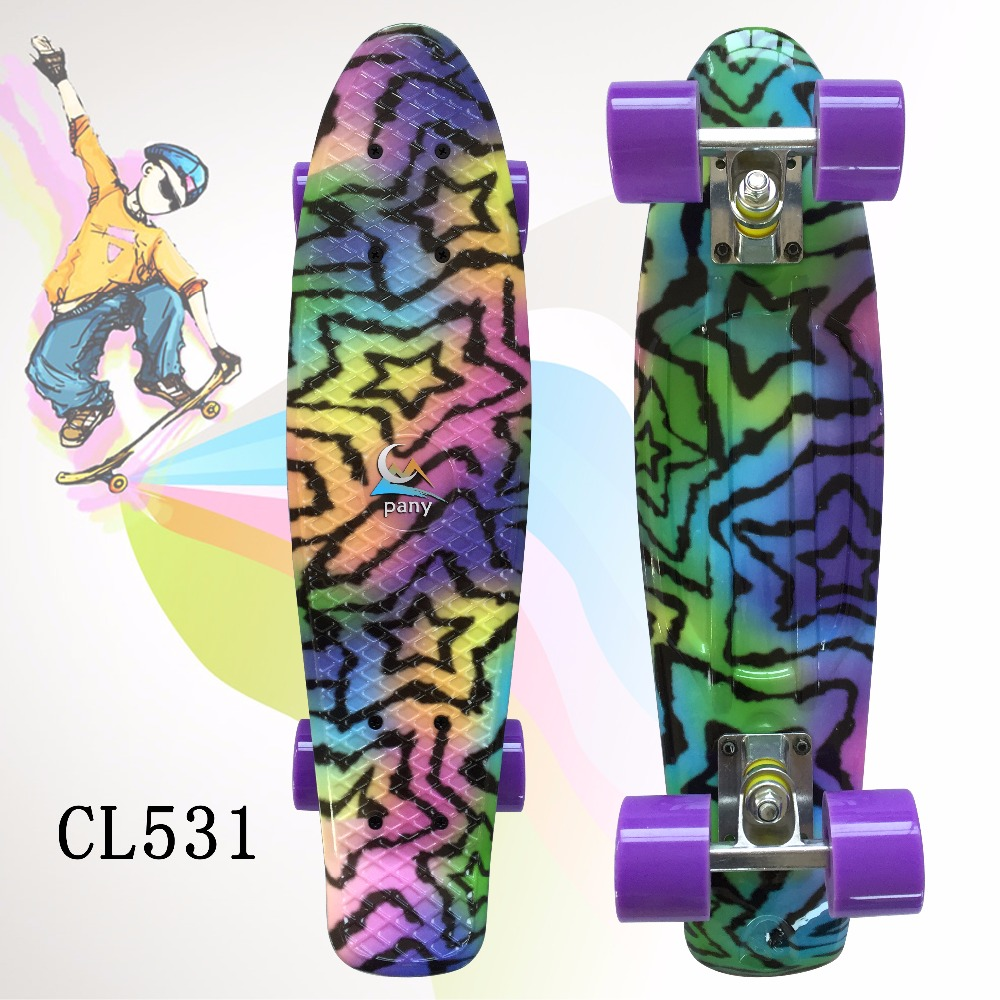 22 Shining color mixed Skate Cruiser Board Plastic Retro Style Banana Skateboard Light Mini Longboard with good quality koston longboard skateboard scooter black skate helmet