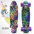 "2016 22"" Shining color mixed Skate Cruiser Board Plastic Retro Style Banana Skateboard Light Mini Longboard with good quality"
