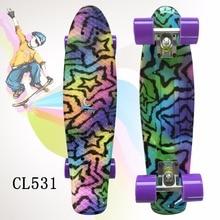 2016 22 «Brillant couleur mixte Skate Cruiser Conseil En Plastique Rétro Style Banana Planche À Roulettes Lumière Mini Longboard avec bonne qualité