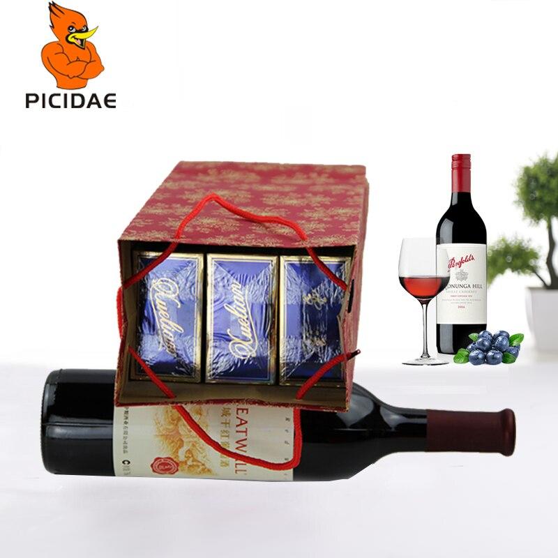 50 pièces papier Kraft. Vin fourre-tout emballage haute qualité sac poignée plié Eco stockage nouvel an Christma Festival boîte Portable cadeau - 2