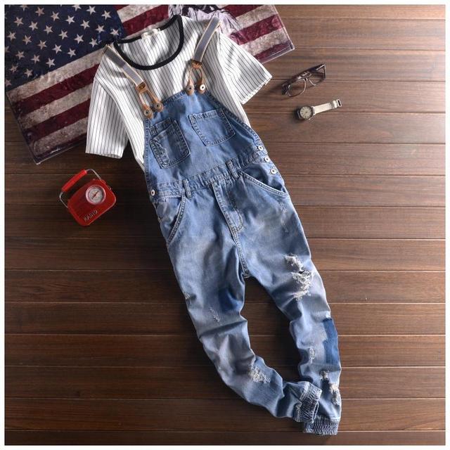 2204c4b9f95 Mens Cotton Denim Blue Jumpsuit Bib Overall Jeans Men Fashion Casual Male  Denim Jumpsuit Long Trousers S-XXL