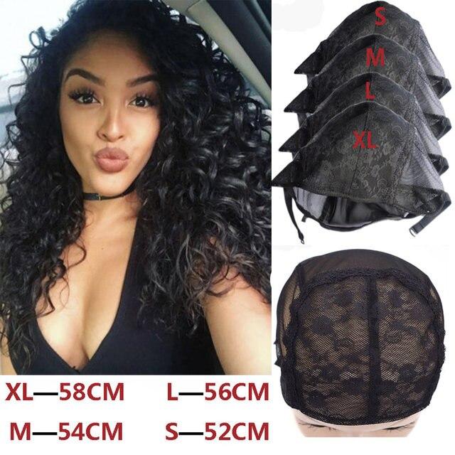 Pas cher 20 pièces XL/L/M/S Stretch suisse dentelle perruque casquette pour faire des perruques avec bretelles réglables noir filet à cheveux Invisible filets pour perruque