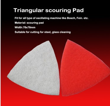 Free Shipping 2PCS 78*78mm Scouring Pad Clean Cloth Triangle For Most Of Vibration Machines For Cleaning Glass Steel Etc