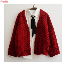 Preppy Style Batwing Sleeve Red No Buttons Large Size Knitwear Topcoat Stripes Twisted Short Kint Jacket Coat