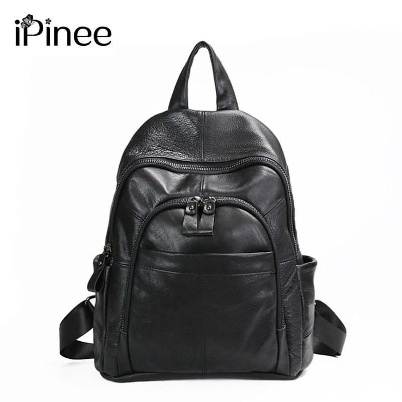 iPinee Fashion Cowhide Backpack Women Genuine Leather School Bag Girls Female Travel Shoulder Bags Black/Brown Back Bags Mochila