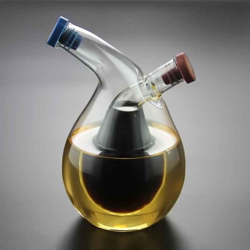 المطبخ اثنين في واحد النفط موزع تصميم الخل إبريق زجاجي الزيتون يمكن جودة النفط المدفق بهار موزع زجاجة
