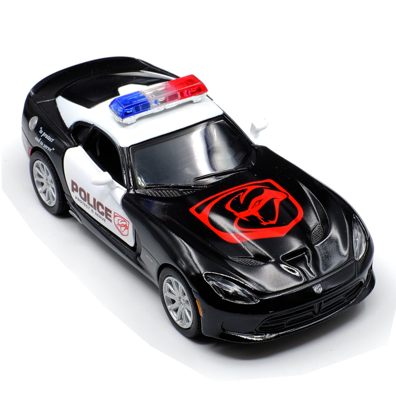 KINSMART American 1:36 Scale Dodge Viper DieCast Metal Police Car Juguetes Pull Back Door Openable Alloy Toy Car Kids Gift
