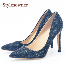 Stylesowner Designer Summer New Sexy Diamond Shoes Black Full Rhinestone Bling Shoe Shallow Mouth Slip on hot women shoe jookrrix 2018 summer new girl western style fashion ankle boots rivets shoe women sexy lady shoe black good quality fish mouth