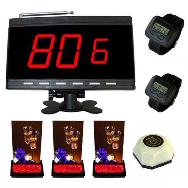 Singcall. para KTV, Teabar, 1 botão branco, 3 multi-botão sinos 1 pc do receptor e 2 pcs de relógio de pulso receptor.
