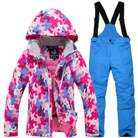 New Hot Sale Brand Boys/Girls Ski Suit Waterproof Pants+Jacket Set 30 warm Winter Sports Thickened Clothes Children's Ski Suits