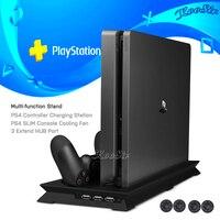 PS4 тонкий вентилятор охлаждения вертикальная подставка с контроллером зарядное устройство PS 4 геймпад зарядная док-станция игровая станция...